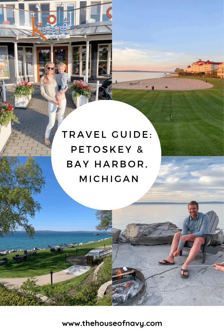 petoskey michigan travel collage |Family Vacation Destinations by popular Michigan travel blog, The House of Navy: Pinterest image of a Petoskey and Bay Harbor Michigan travel guide.