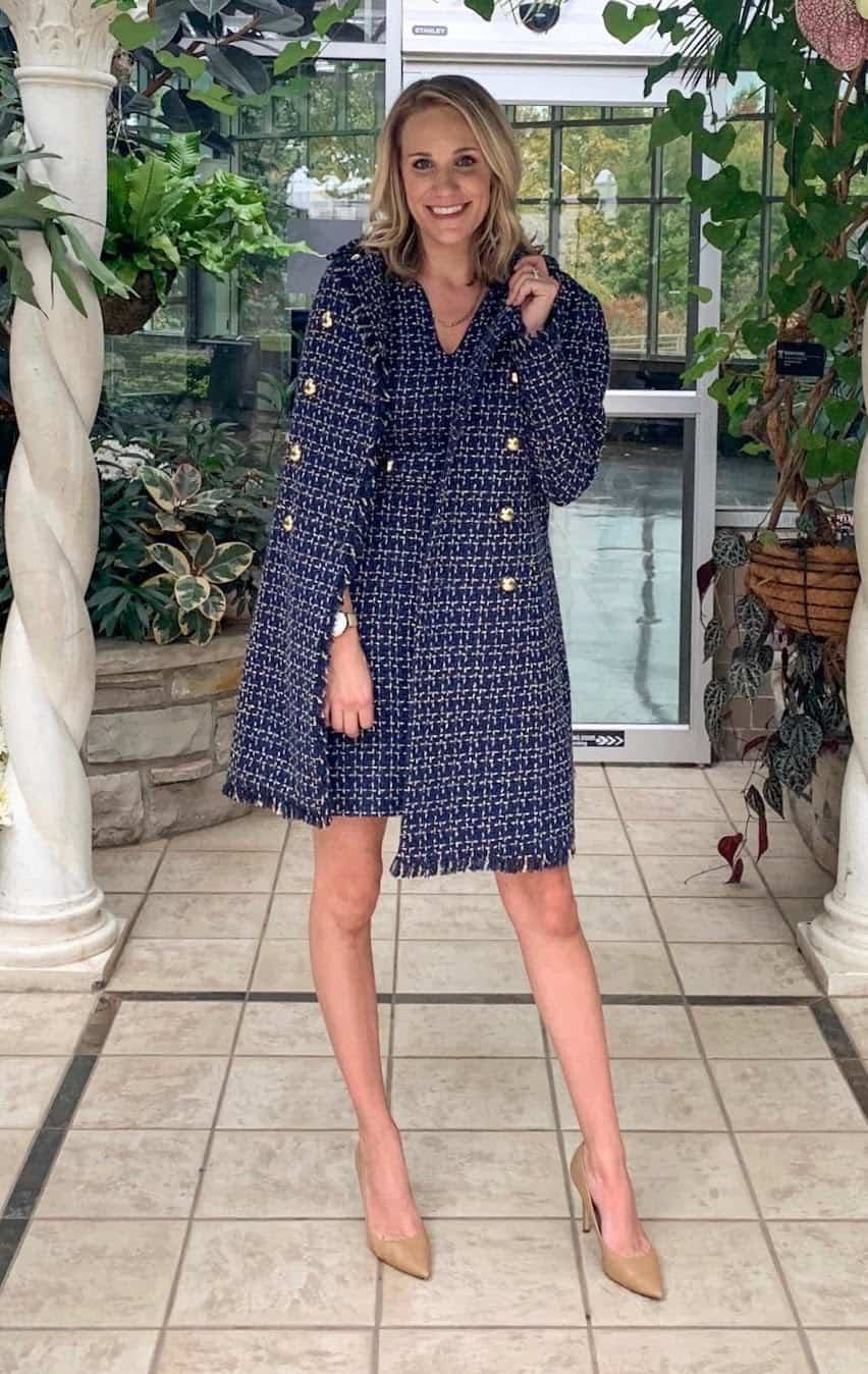 fashion blogger wearing navy tweed dress and jacket set