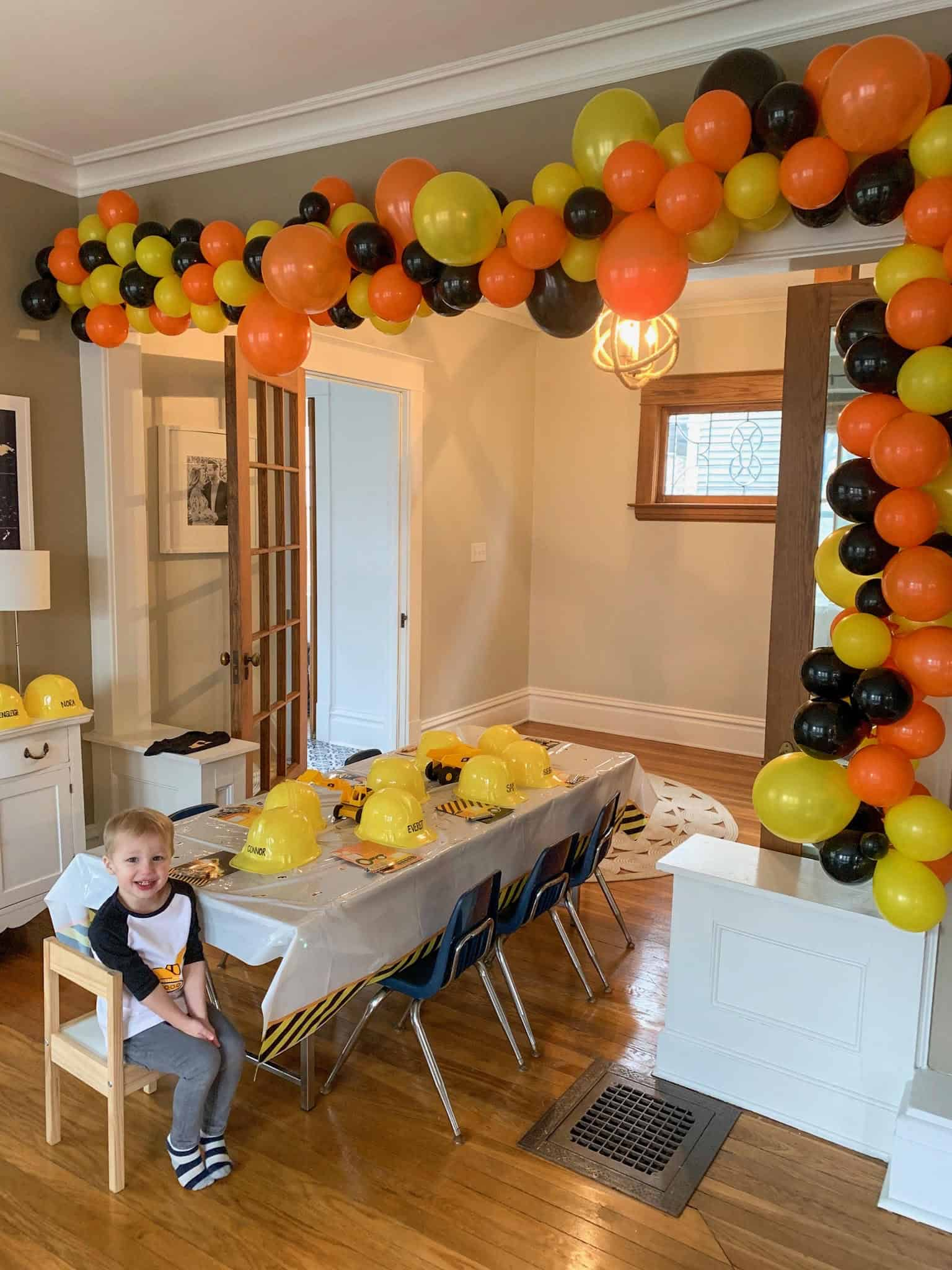 construction theme birthday party table decor