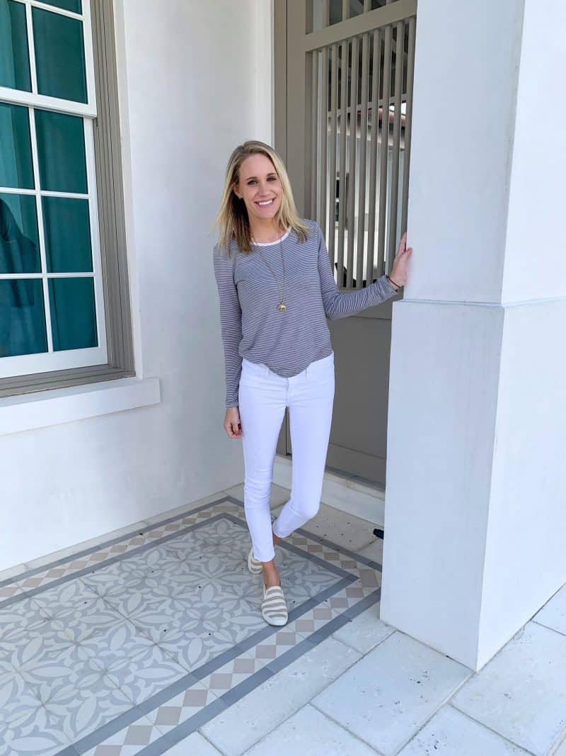 The Ultimate 30A Travel Guide for Families featured by top US travel blog, House of Navy: image of fashion blogger posing outside of door