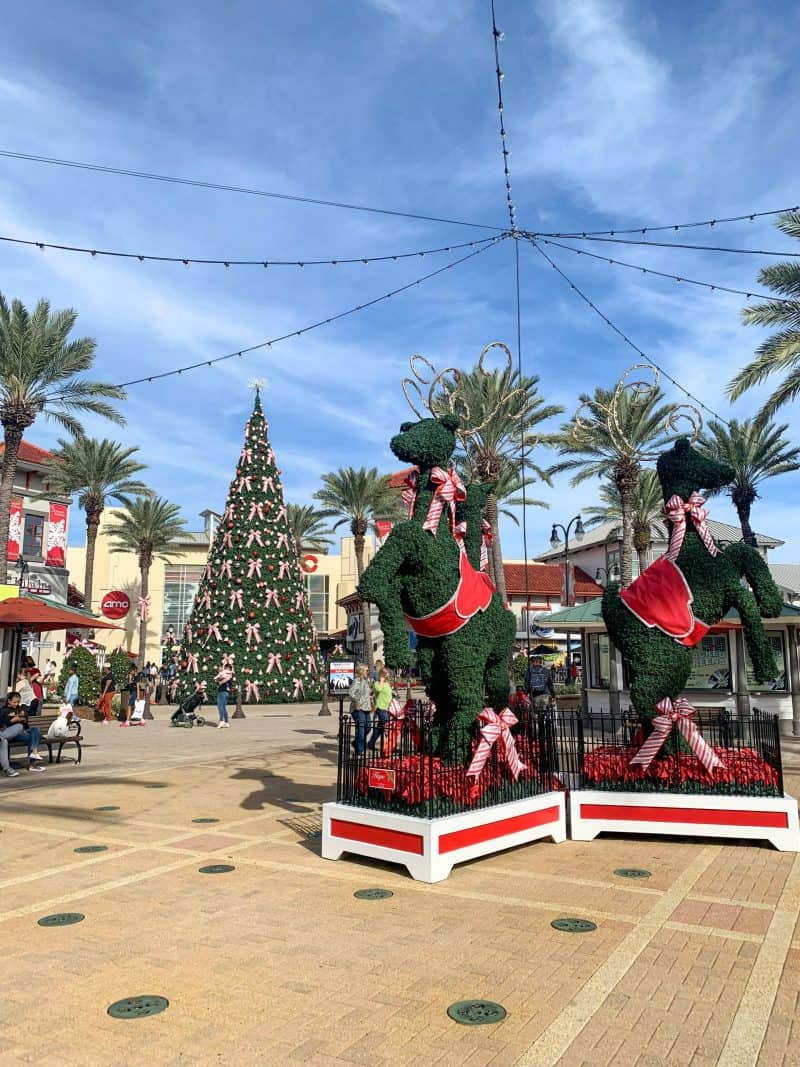 The Ultimate 30A Travel Guide for Families featured by top US travel blog, House of Navy: image of outlet mall decorated christmas tree