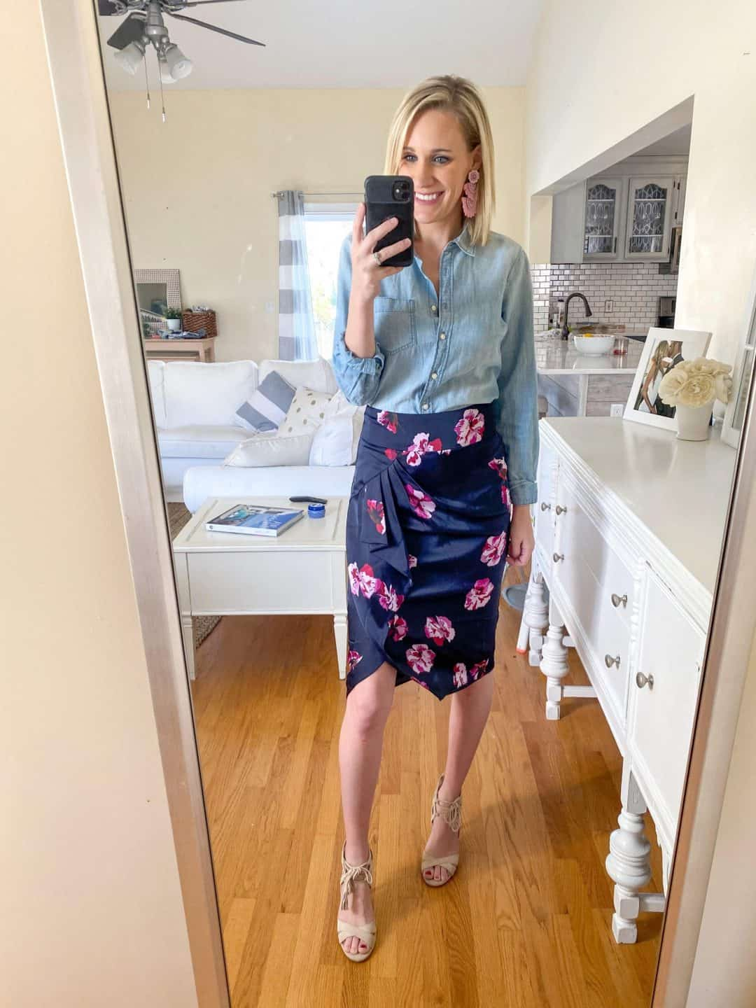 TJ Maxx Runway Spring Event favorites featured by top Detroit fashion blog, House of Navy: image of fashionable woman in designer floral skirt
