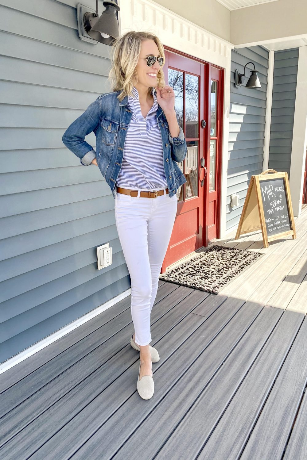 Rothy's Loafers and Chelsea Review featured by top Michigan mom style blog, The House of Navy: image of a fashionable woman in preppy outfit