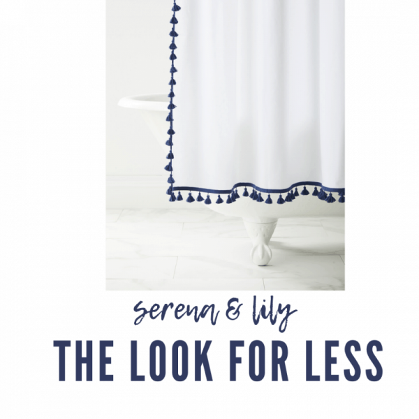 Serena & Lily Dupes featured by top MI lifestyle blogger, House of Navy: serena & lily tassel shower curtain
