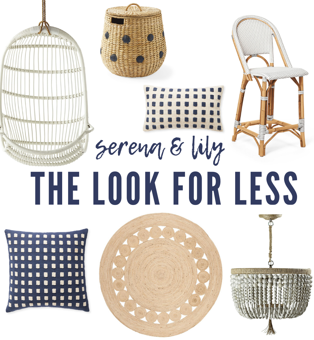 Serena & Lily Dupes featured by top MI lifestyle blogger, House of Navy: coastal preppy decor collage