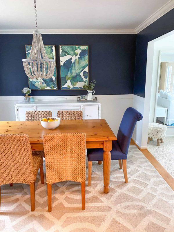 navy dining room makeover