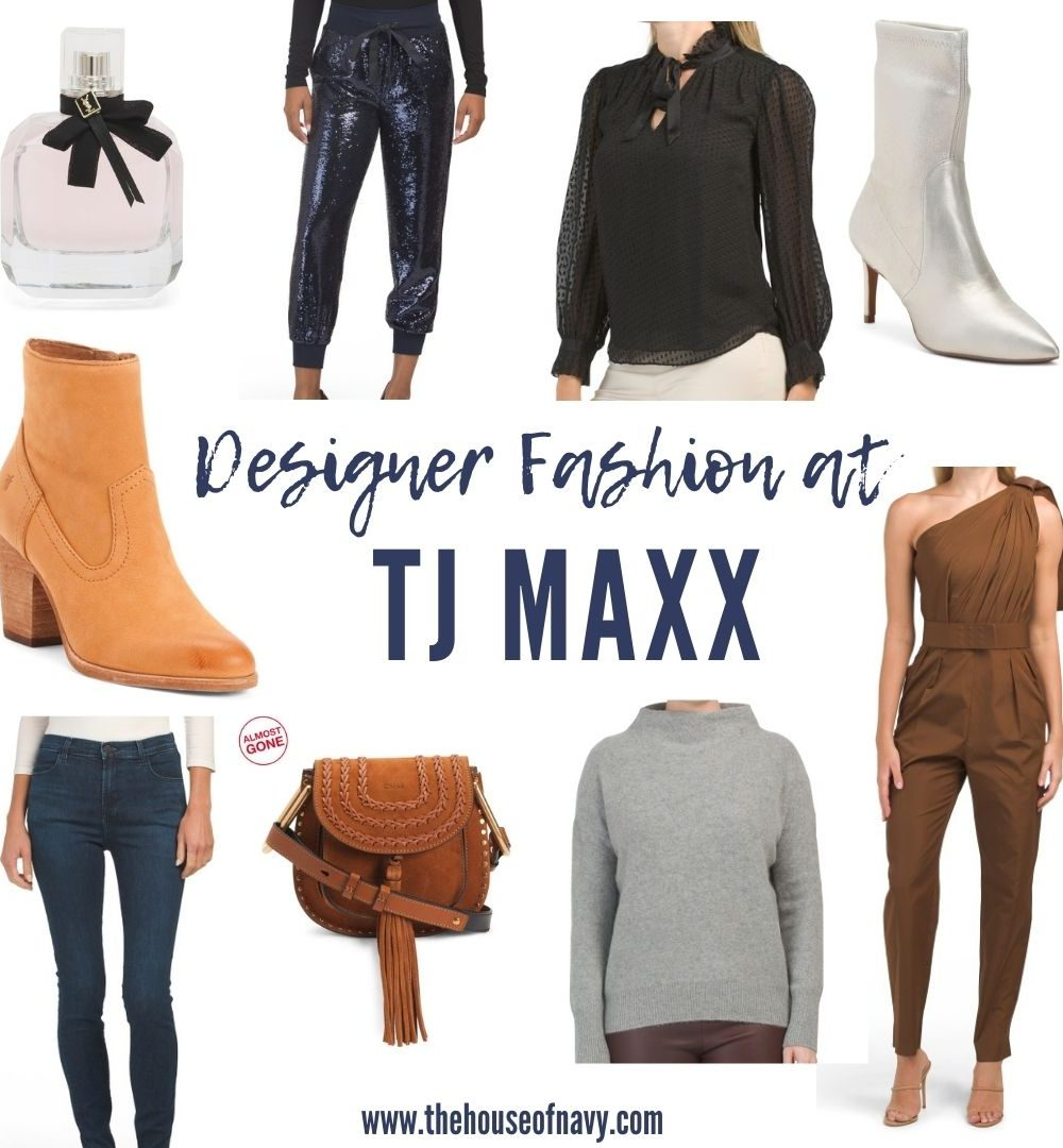 collage of designer fashion at tj maxx | Designer Finds by popular Michigan fashion blog, The House of Navy: collage image of ankle boots, jeans, sweaters, jumpsuits, letather jackets, and mock neck sweater from TJ Maxx.