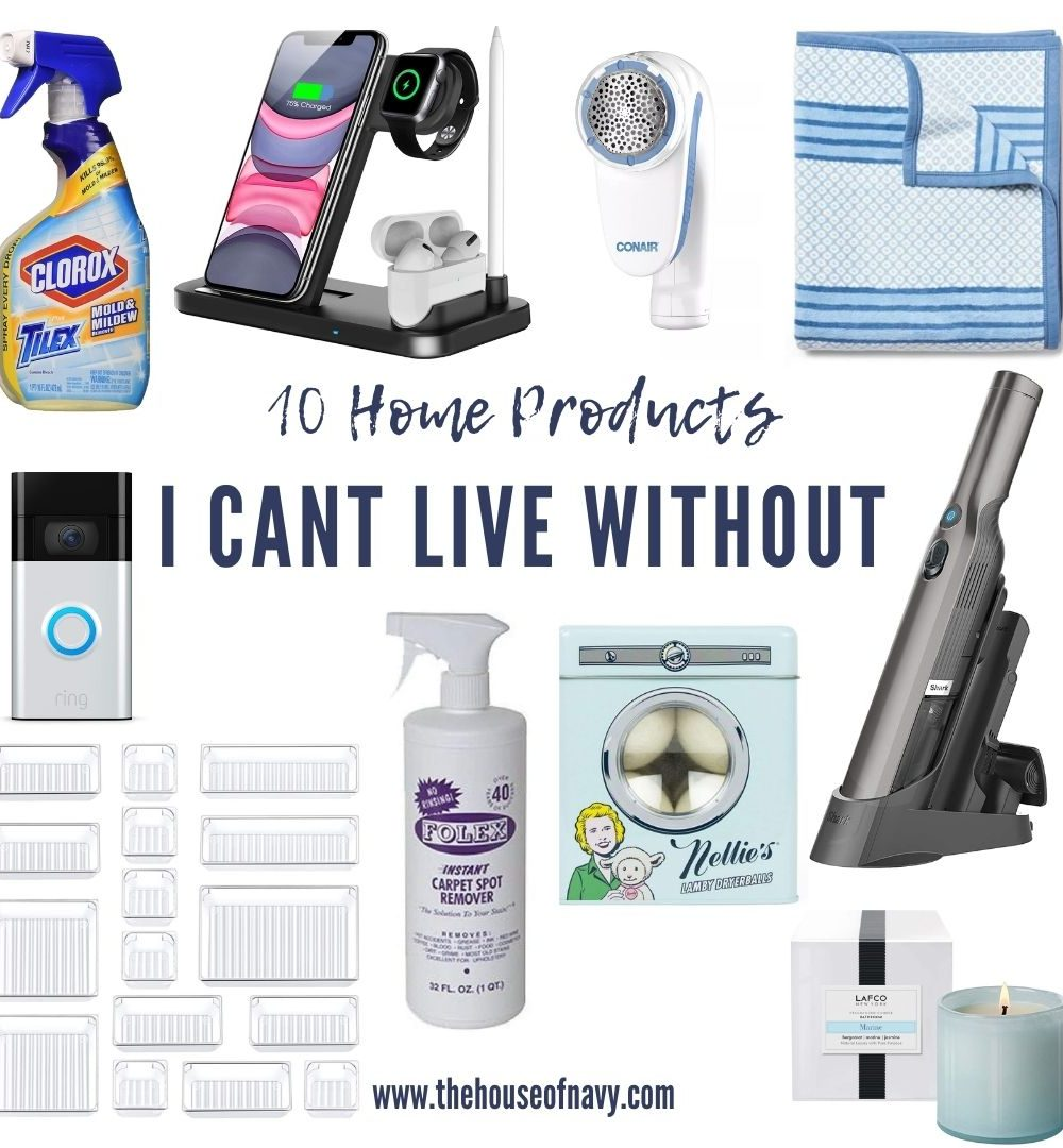 collage of home essential products | Home Essentials by popular Michigan lifestyle blog, The House of Navy: collage image of Clorox cleaner, phone charging station, hand vacuum, and ring door bell.