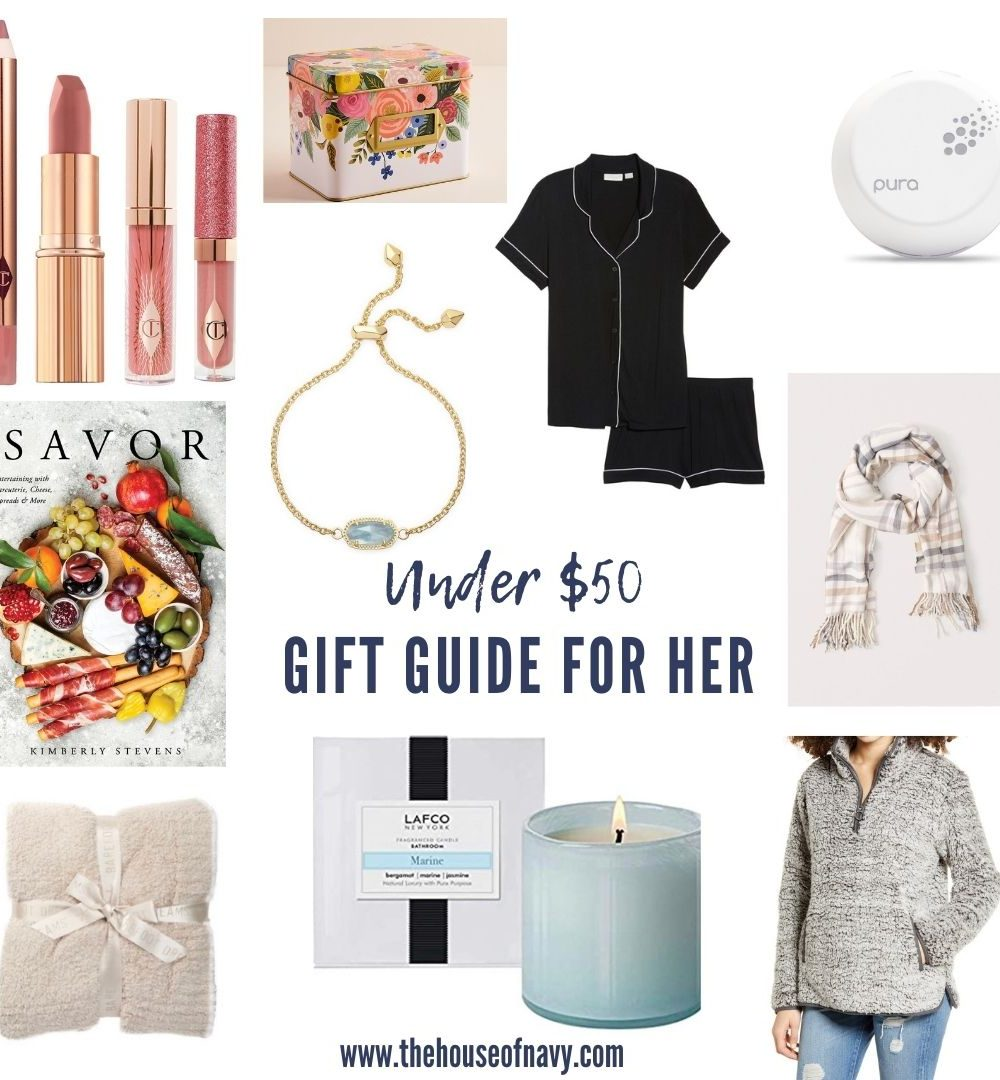 collage of gifts for women under $50