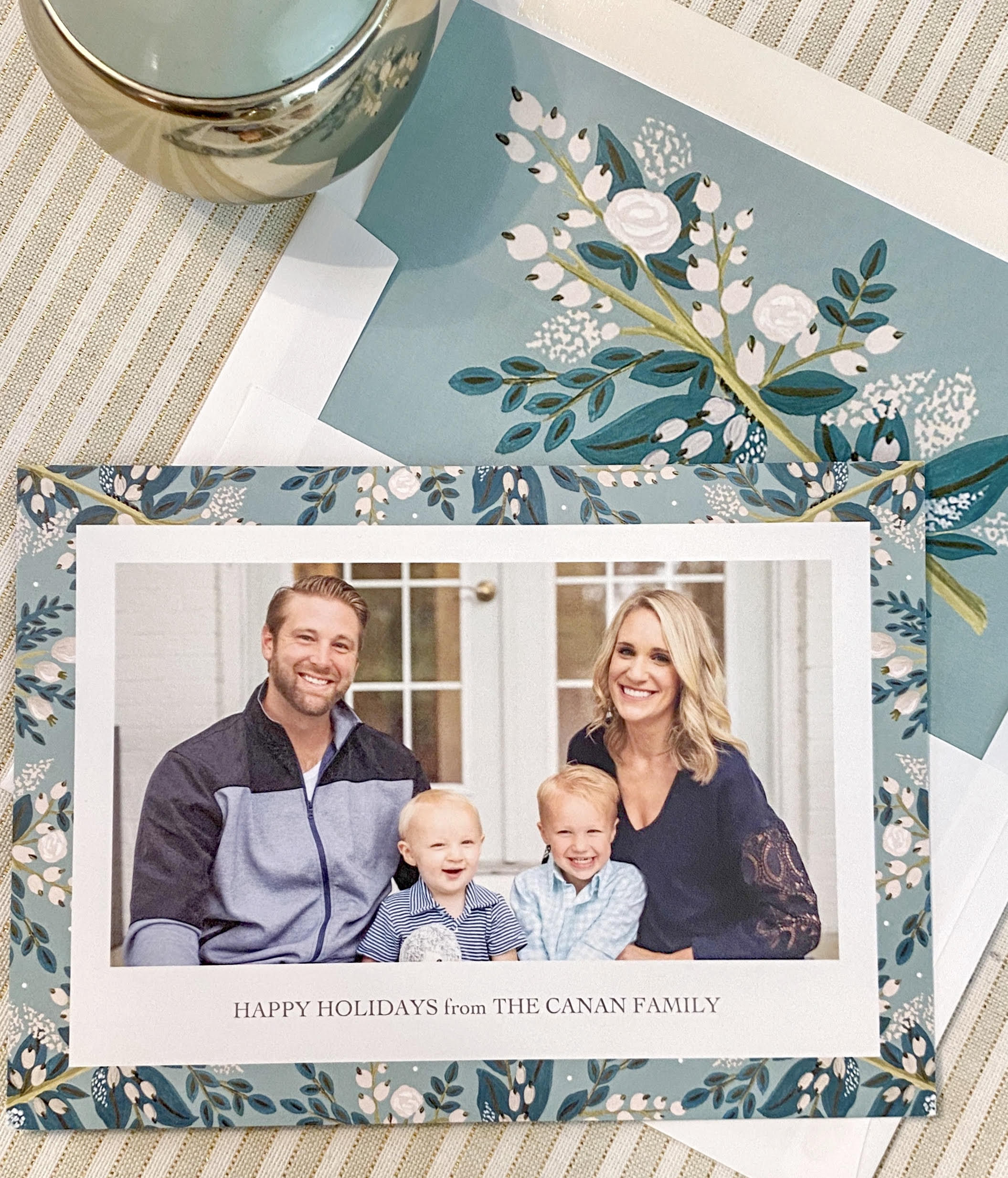 image of a blue and white floral family holiday card