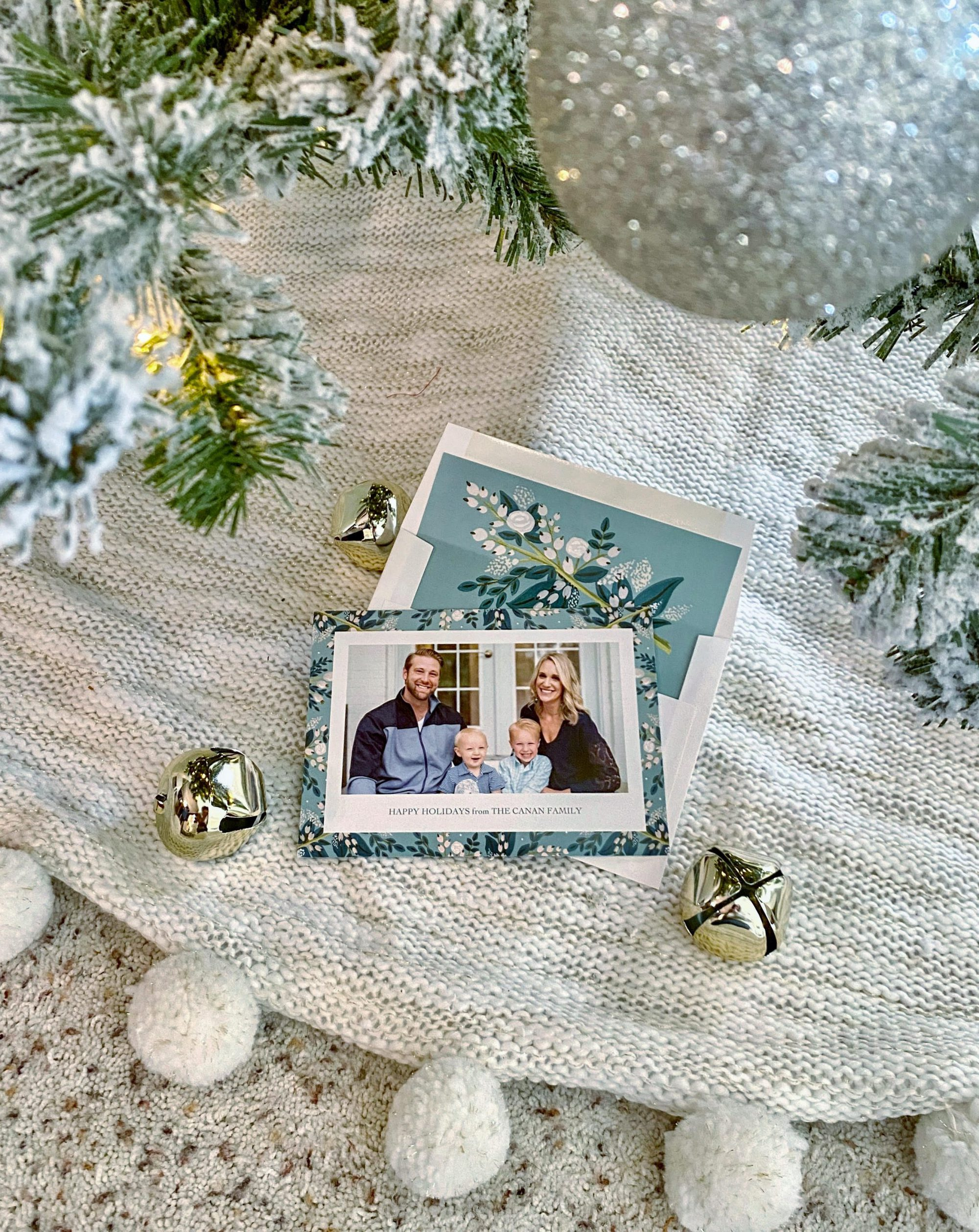 image of a family holiday card under a flocked christmas tree