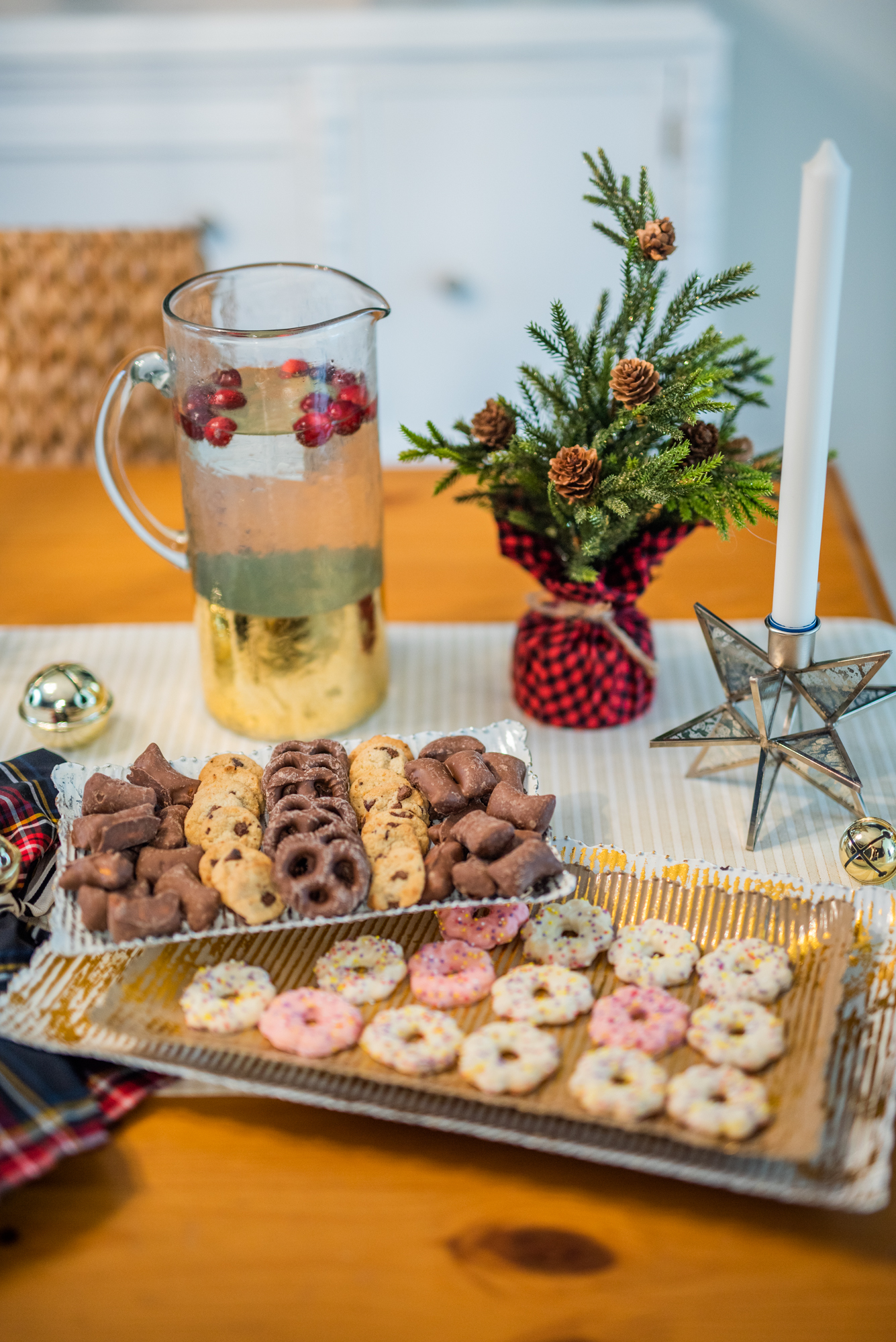 photo of holiday cookie platter and pitcher