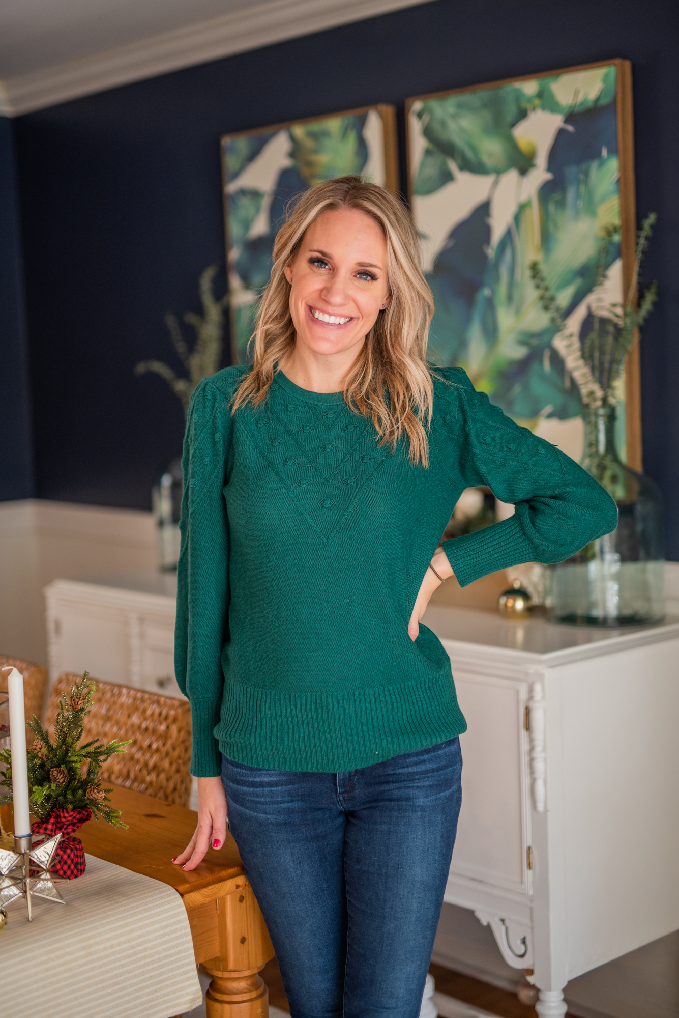 photo of woman in green sweater