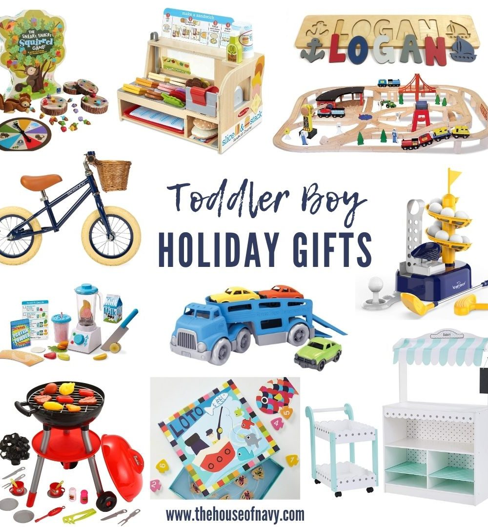 collage of toddler boy holiday gift ideas
