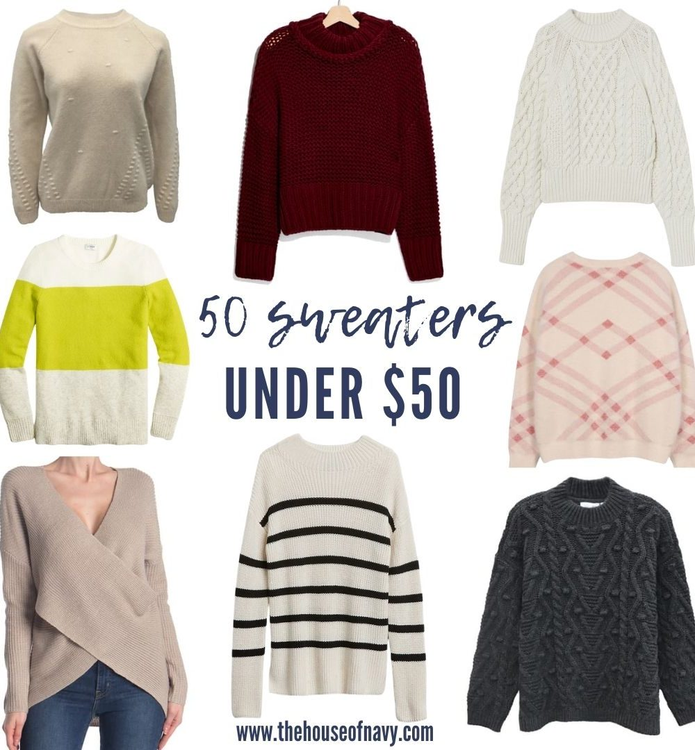 collage of women's winter sweaters under $50