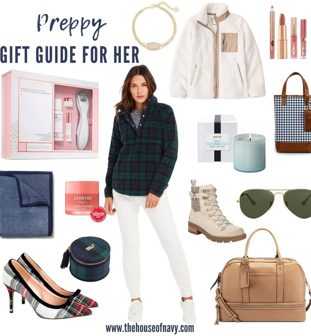 collage of preppy gift guide ideas for women