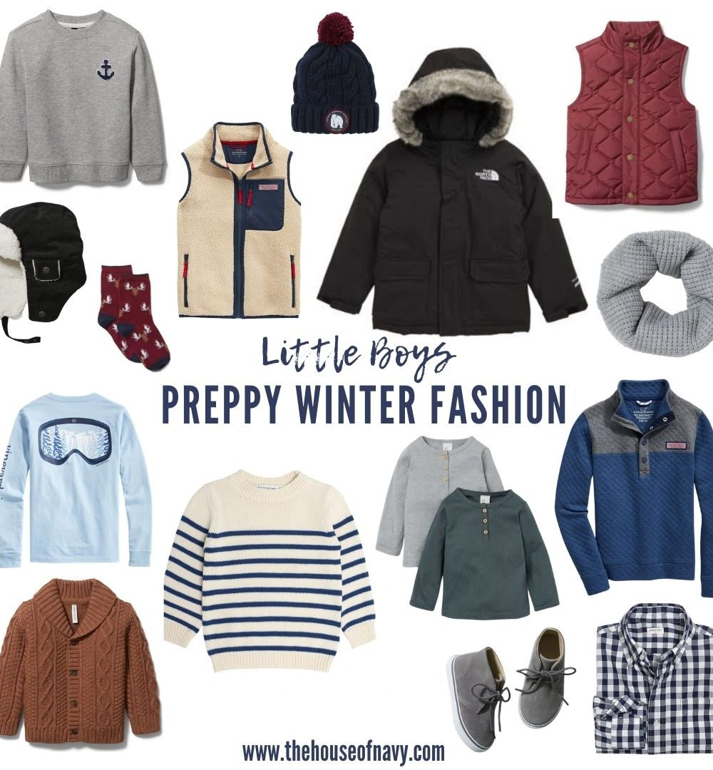 collage of preppy winter fashion for little boys