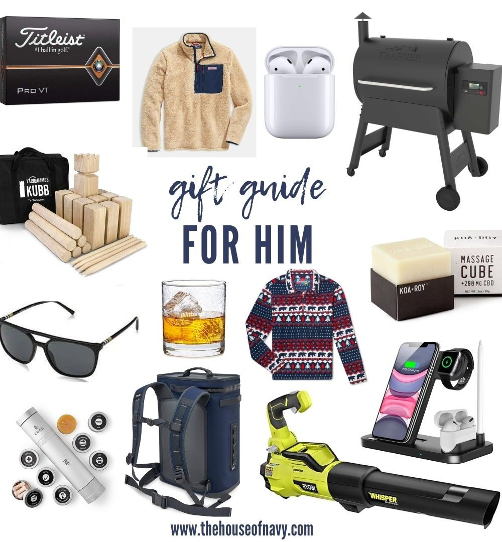 collage of gift ideas for men | Gift Ideas for Men Who Have Everything by popular Michigan life and style blog, The House of Navy: collage image of a men's sweater, men's pullover, Traeger Grill, sunglasses, air pods, and a shaving kit.