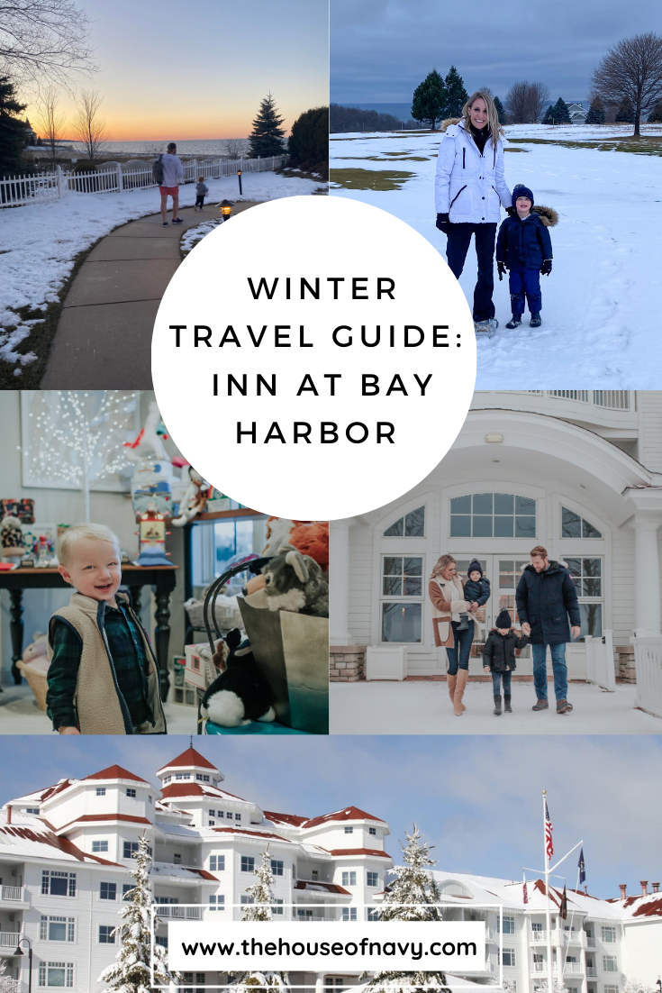collage of winter travel guide activities at the Inn at Bay Harbor | Inn at Bay Harbor by popular Michigan travel blog, The House of Navy: Pinterest image of a family at the Inn at Bay Harbor.