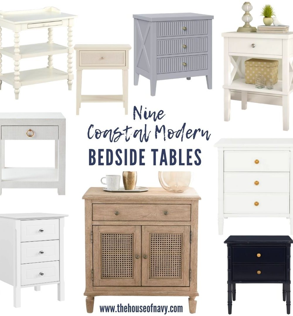 collage of coastal modern nightstands