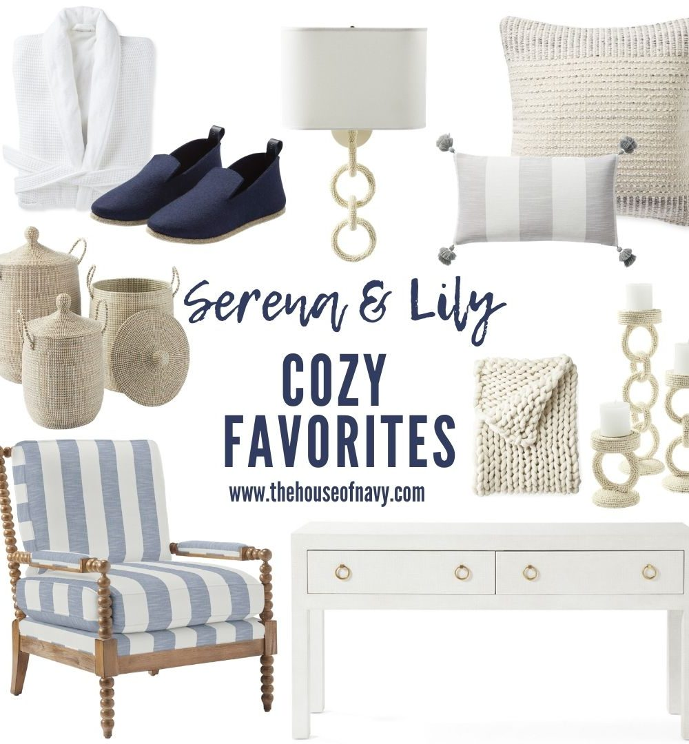 collage of serena and lily preppy cozy decor essentials