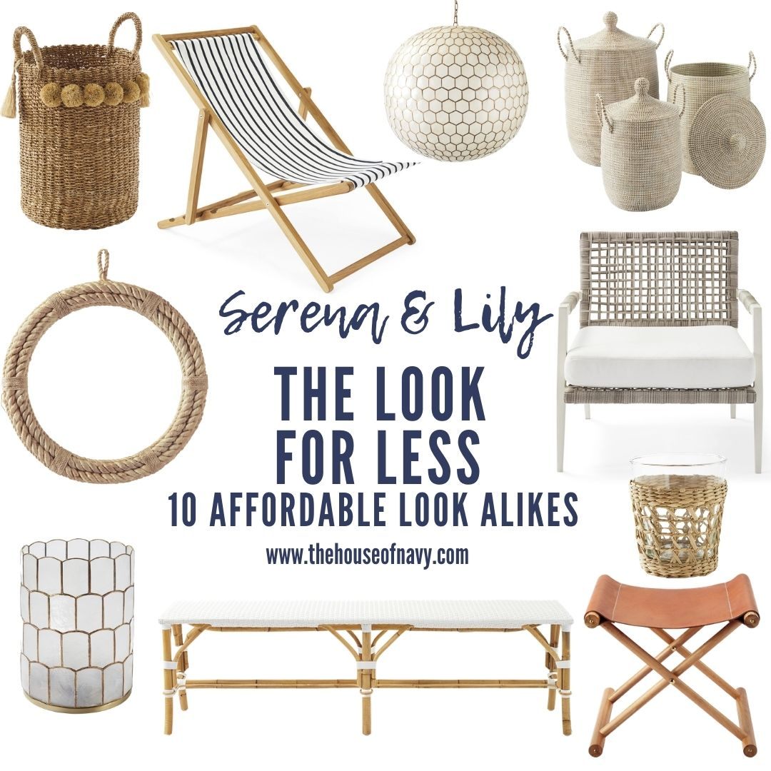 collage of home decor from serena and lily | Serena and Lily Dupes by popular Michigan life and style blog, The House of Navy: collage image of a woven pom basket, blue and white stripe fabric lounge chair, honeycomb pendant light, white woven baskets, wicker armchair with a white cushion, rope wreath, white bench, acrylic and gold wast basket, leather fold out chair, and woven grass candle holder.