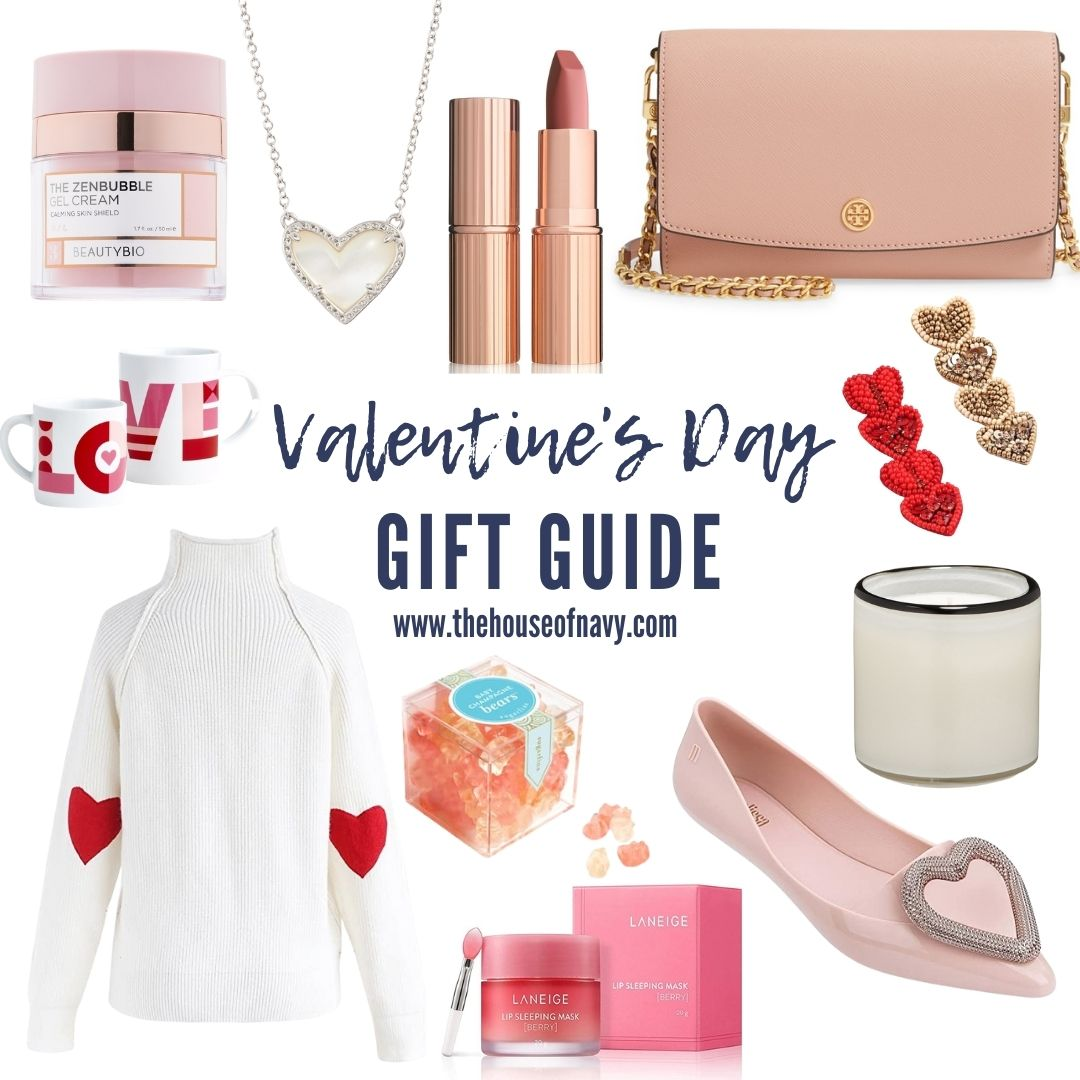 collage of valentine's day inspired gifts for women | Valentine's Day Gifts by popular Michigan life and style blog, The House of Navy: collage image of a Kendra Scott heart necklace, white turtle neck sweaters with red heart patches, lainge renewal lip mask, Tory Burch purse, Love mug, Lily Lough heart seed bead earrings, Melissa pointy toe heart shoes, Lafco champagne candle, Pillow Talk matte lipstick, and Sugarfina champagne bears.