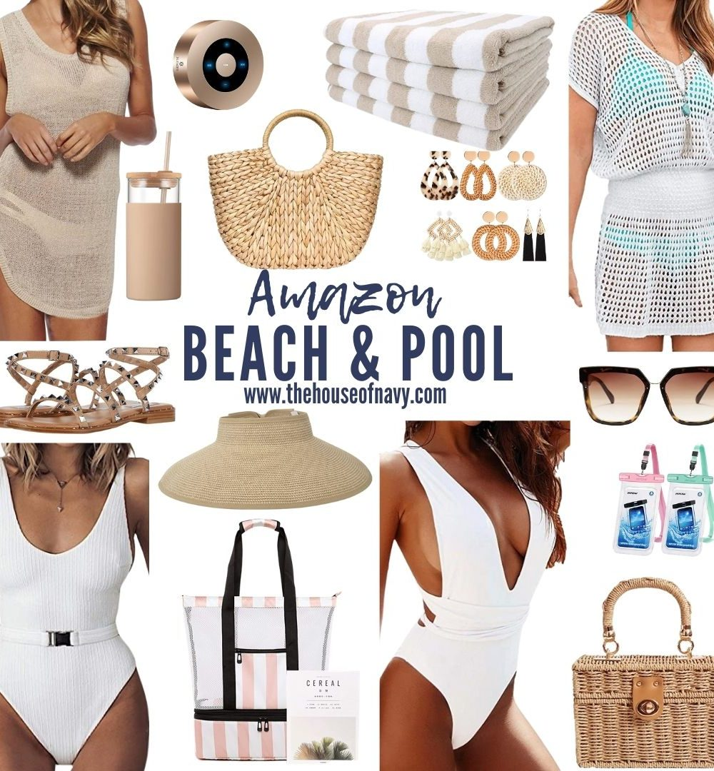 collage of amazon beach and pool favorites including white one piece swimsuit, rattan bag, striped cabana towels, cover up dress, sun visor, studded sandals, waterproof bluetooth speaker, cooler bag, and rattan earrings