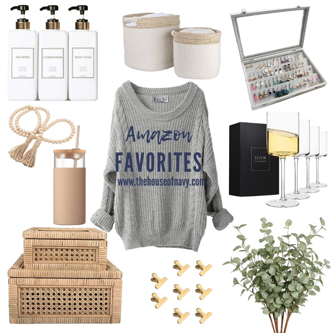 Top 10 Home Decor Favorites from Amazon featured by top MI lifestyle blogger, House of Navy: collage of home decor from amazon   Amazon Favorites by popular Michigan life and style blog, The House of Navy: collage image of cream woven baskets, wooden bead garland, faux eucalyptus branches, wicker boxes, gold clips, clear wine glasses, grey earring holder, tan tumbler, white ceramic soap dispensers, and grey cable knit sweater.