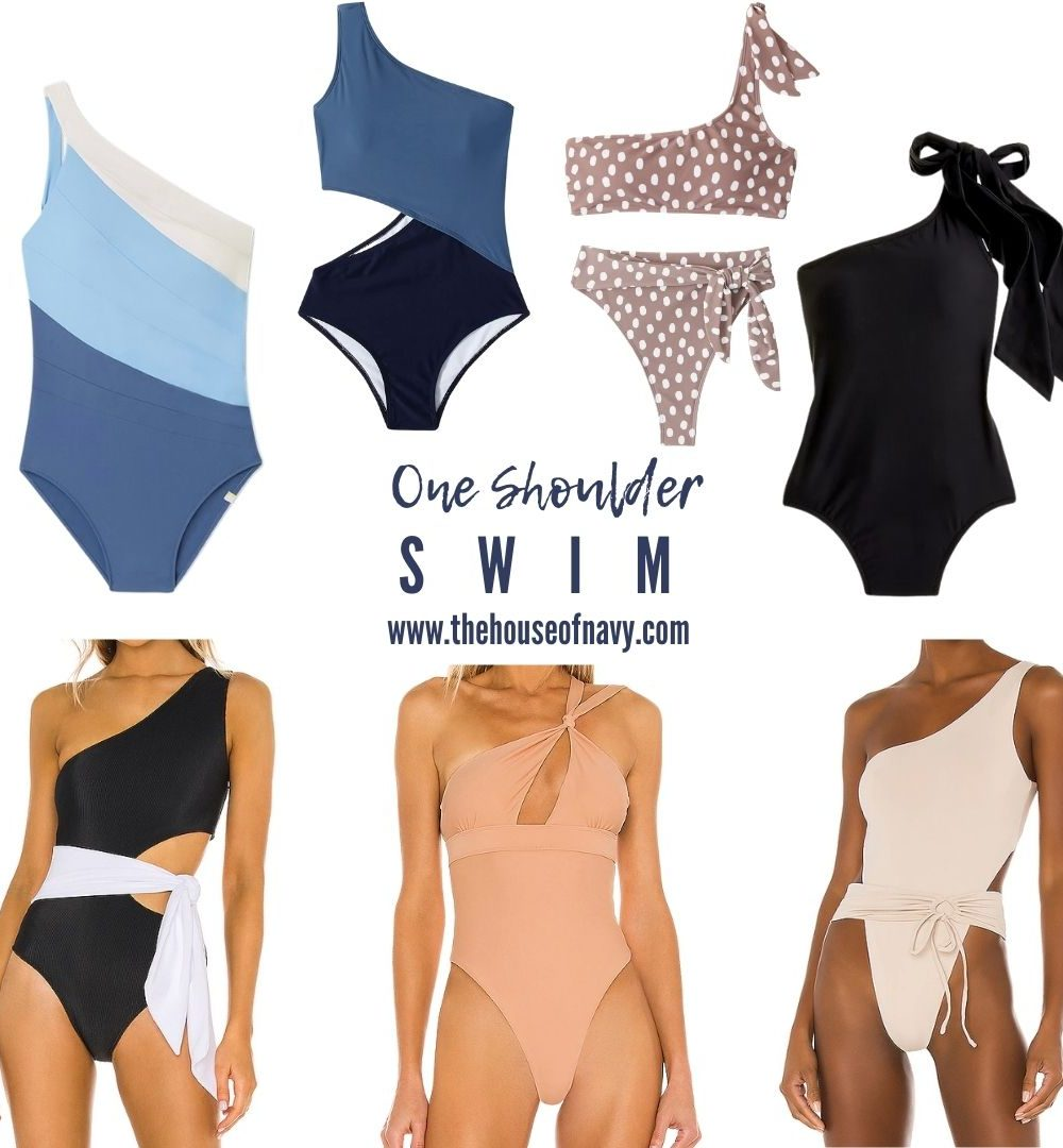 collage of one shoulder swim suits for women