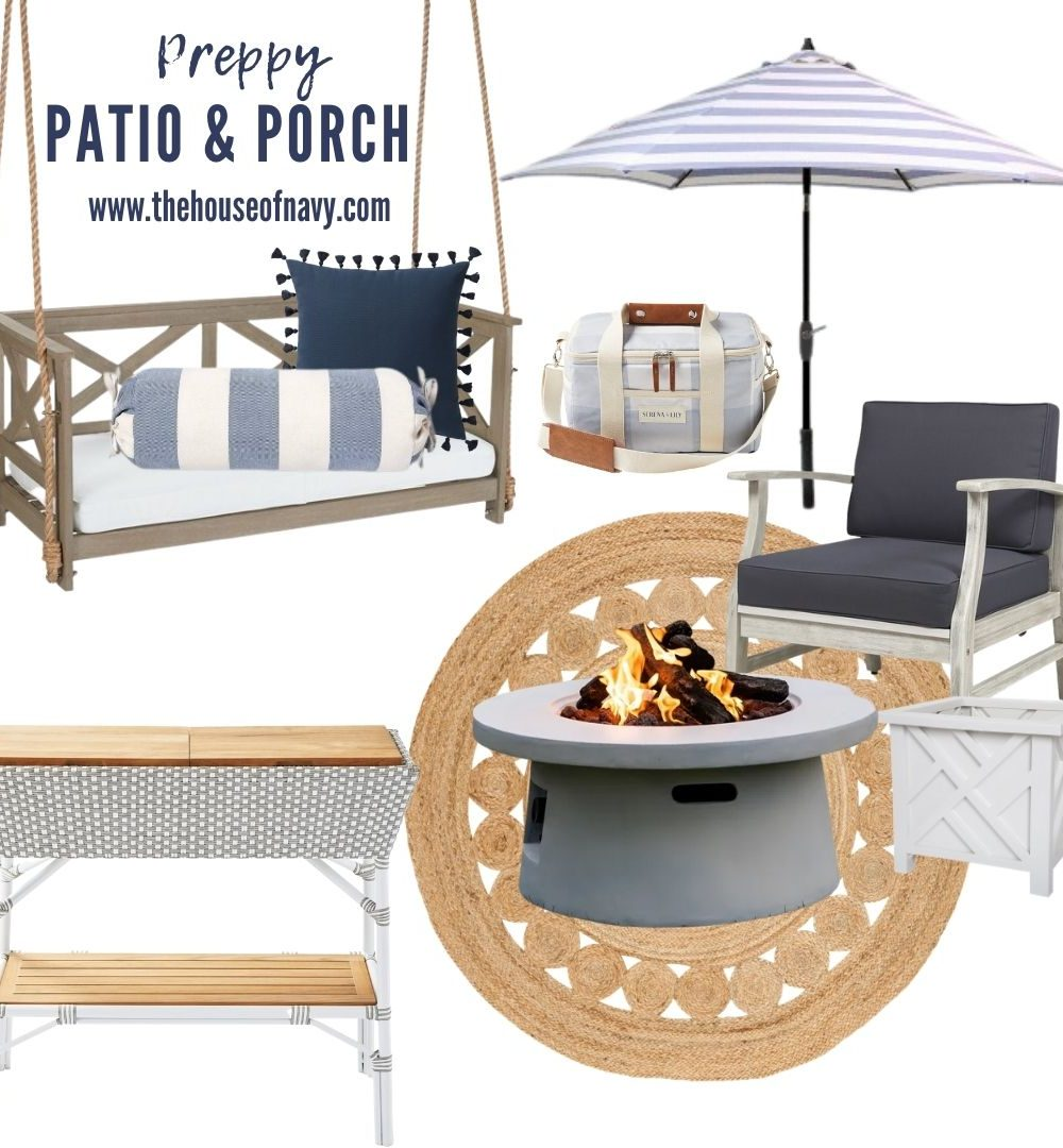 collage of preppy outdoor patio and porch decor