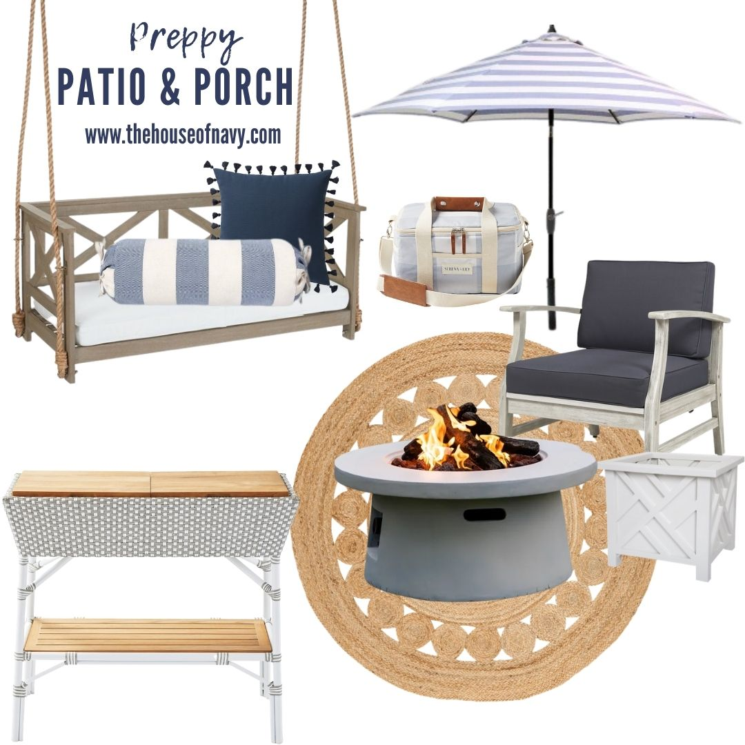 collage of preppy outdoor patio and porch decor |covered preppy patio decor | Preppy Outdoor Decor by popular Michigan life and style blog, The House of Navy: collage image of a wooden porch swing, blue and white stripe umbrella, gas fire pit, circular outdoor rug, white planter box, and white wood chair with blue cushions.