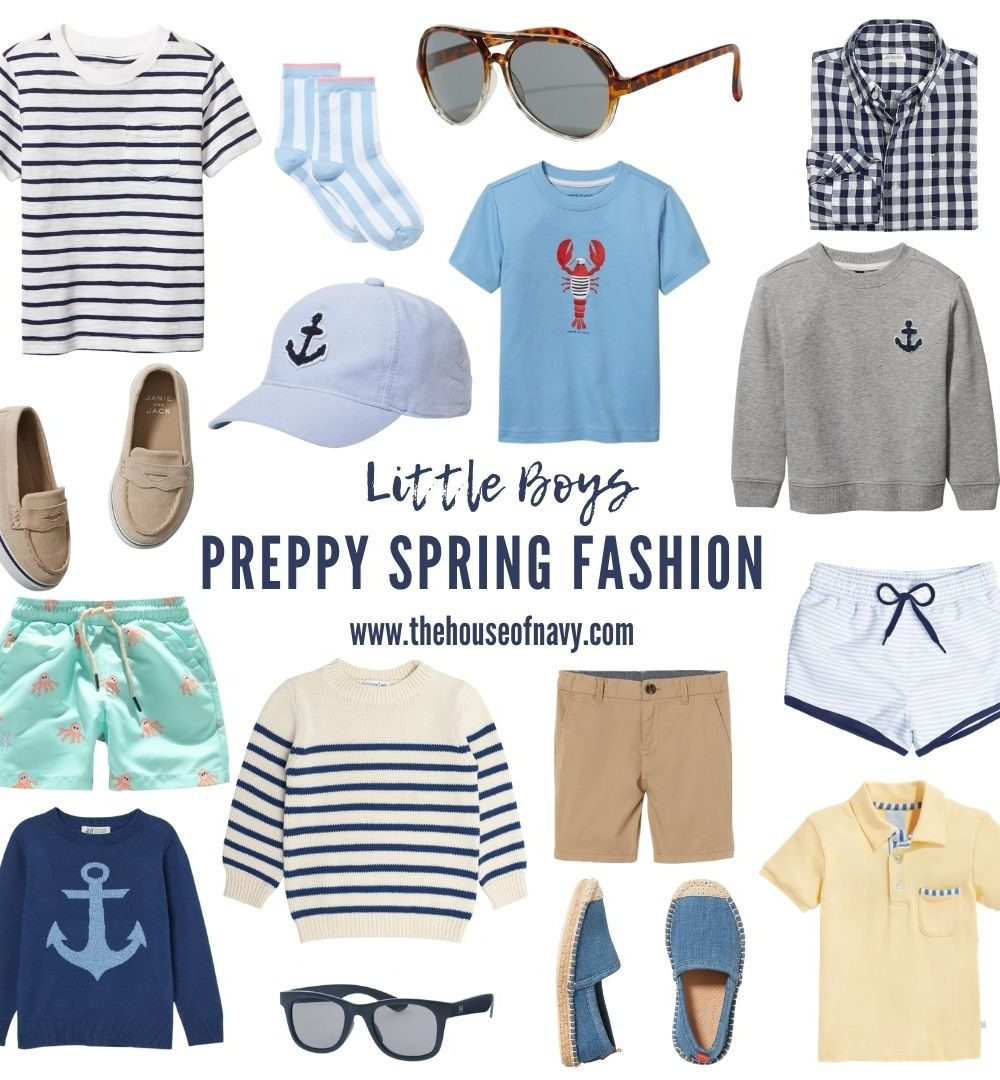 Best preppy boy clothes for spring featured by top MI fashion blogger, House of Navy: collage of toddler boy preppy spring fashion