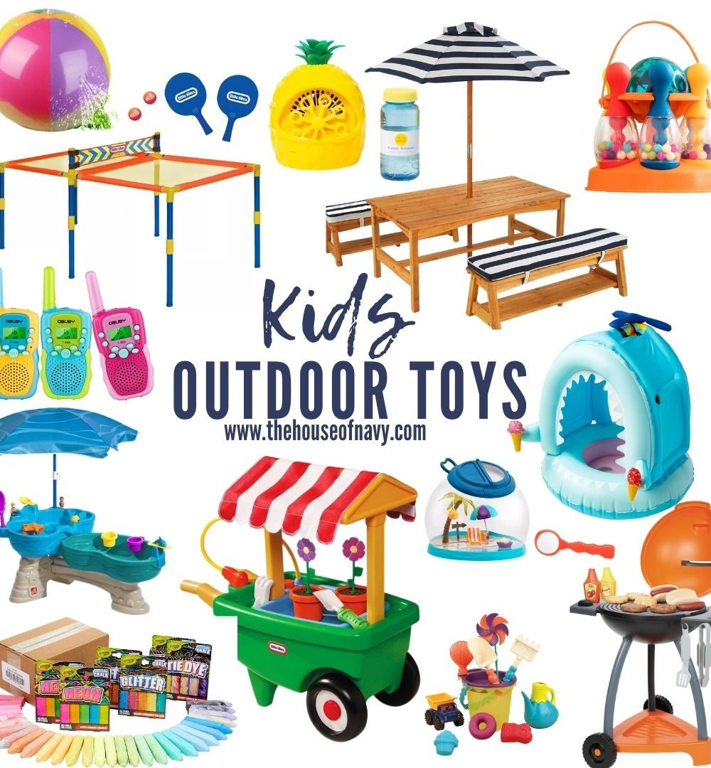 collage of toddler and kids outdoor toys for summer