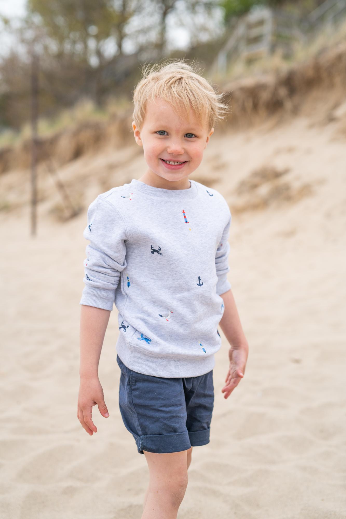 preppy toddler on beach